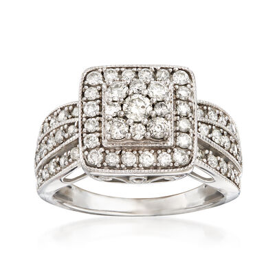 C. 1990 Vintage 1.15 ct. t.w. Diamond Cluster Ring in 10kt White Gold, , default