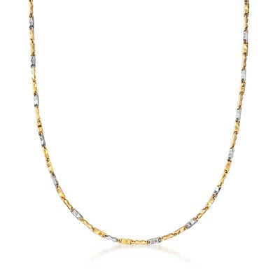 C. 1990 Vintage Block-Link Necklace in 18kt Two-Tone Gold, , default