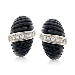 C. 1980 Vintage Black Onyx and 1.10 ct. t.w. Diamond Shrimp Clip-On Earrings in 18kt Two-Tone Gold, , default