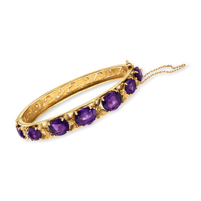 C. 1970 Vintage 16.00 ct. t.w. Amethyst Bangle Bracelet in 14kt Yellow Gold