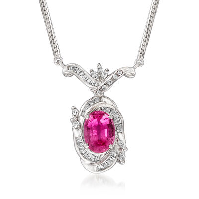 C. 1980 Vintage 3.96 Carat Pink Tourmaline and .83 ct. t.w. Diamond Necklace in Platinum