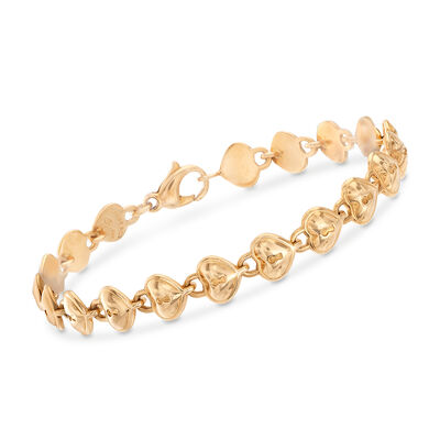 C. 1990 Vintage Tiffany Jewelry 18kt Yellow Gold Heart Bracelet, , default