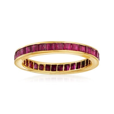 C. 1980 Vintage 2.75 ct. t.w. Ruby Eternity Ring in 14kt Yellow Gold