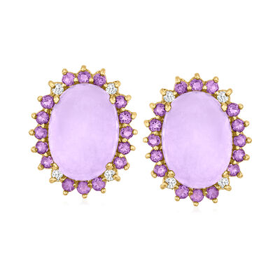 C. 1980 Vintage Lavender Jade, 2.00 ct. t.w. Amethyst and .25 ct. t.w. Diamond Earrings in 14kt Yellow Gold
