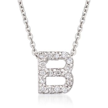 "Roberto Coin Tiny Treasures Diamond B Necklace in 18-Karat White Gold. 16"", , default"