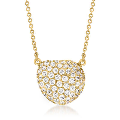 C. 1980 Vintage Tiffany Jewelry 1.05 ct. t.w. Diamond Cluster Necklace in 18kt Yellow Gold
