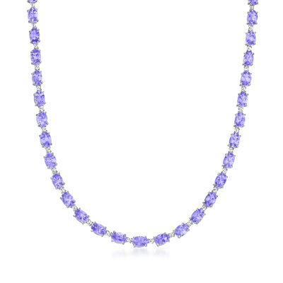 C. 1990 Vintage 21.82 ct. t.w. Tanzanite and .48 ct. t.w. Diamond Tennis Necklace in 18kt White Gold