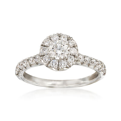 Henri Daussi 1.00 ct. t.w. Diamond Halo Engagement Ring in 18kt White Gold