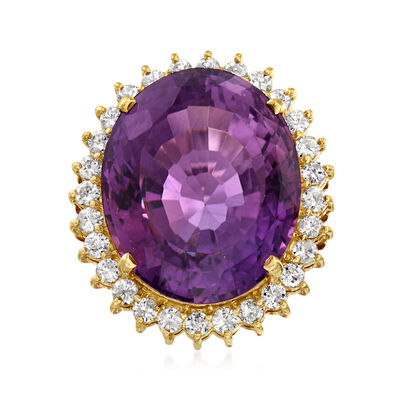 C. 1980 Vintage 21.00 Carat Amethyst and 1.00 ct. t.w. Diamond Ring in 18kt Yellow Gold