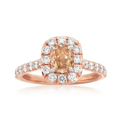 Henri Daussi 1.38 ct. t.w. Diamond Halo Engagement Ring in 18kt Rose Gold, , default