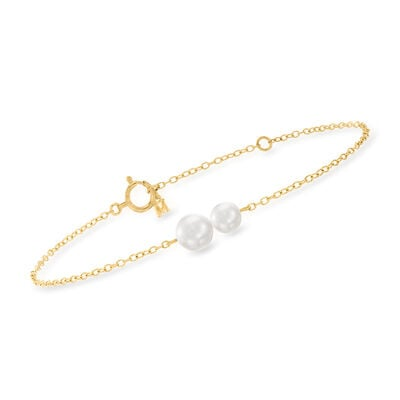 Mikimoto 5-6mm A+ Akoya Pearl Station Bracelet in 18kt Yellow Gold
