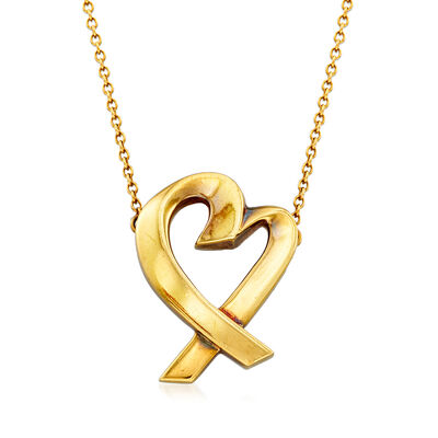 """C. 1980 Tiffany Jewelry """"Loving Heart"""" 18kt Yellow Gold Heart Necklace, , default"""
