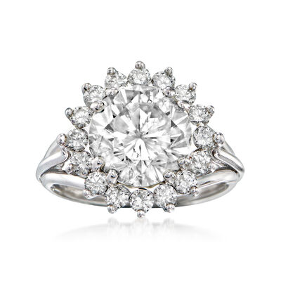 Majestic Collection 5.03 ct. t.w. Diamond Halo Ring in 18kt White Gold