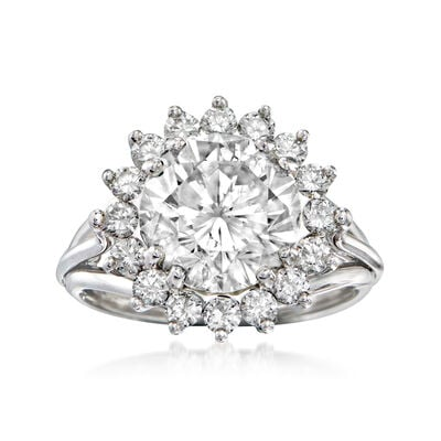 Majestic Collection 5.03 ct. t.w. Diamond Halo Ring in 18kt White Gold, , default
