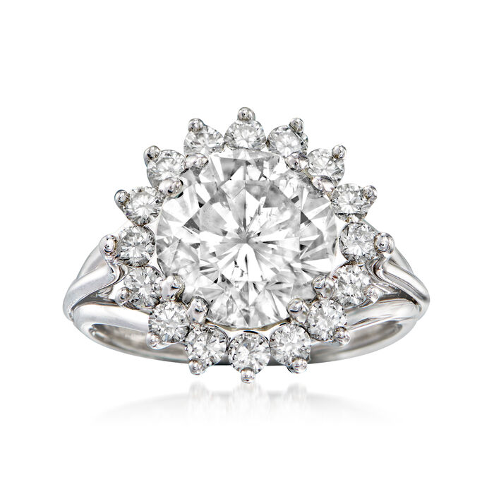 Majestic Collection 5.03 ct. t.w. Diamond Halo Ring in 18kt White Gold. Size 7