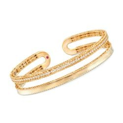 "Roberto Coin ""Symphony Princess"" .64 ct. t.w. Diamond Double Row Cuff Bracelet in 18kt Yellow Gold, , default"