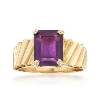 C. 1980 Vintage 3.00 Carat Amethyst Ring in 14kt Yellow Gold, , default
