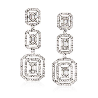 3.65 ct. t.w. Diamond Drop Earrings in 18kt White Gold, , default