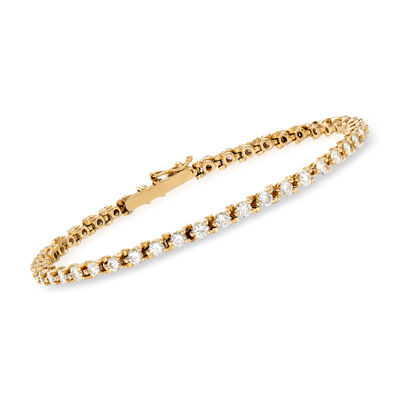 C. 1980 Vintage 4.00 ct. t.w. Diamond Line Bracelet in 14kt Yellow Gold