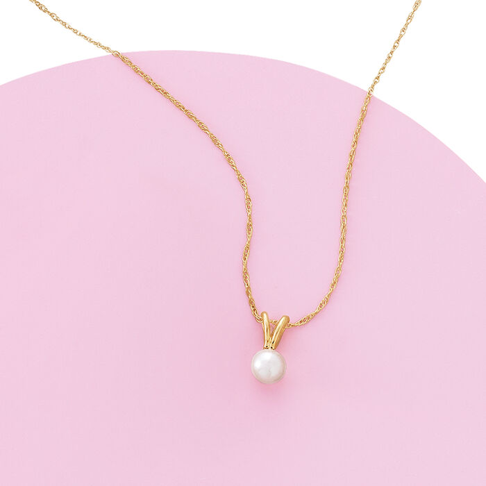 Child's 4mm Cultured Pearl Solitaire Necklace in 14kt Yellow Gold