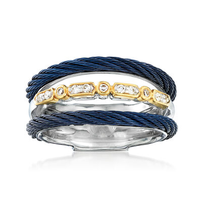 "ALOR ""Classique"" Multi-Row Blue Stainless Steel Ring with Diamond Accents and 18kt Yellow Gold"