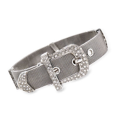 C. 1990 Vintage 2.50 ct. t.w. Diamond Buckle Bracelet in 18kt White Gold