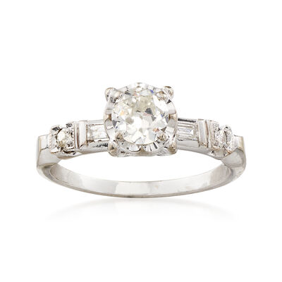 C. 1990 Vintage .71 ct. t.w. Diamond Engagement Ring in 14kt White Gold, , default