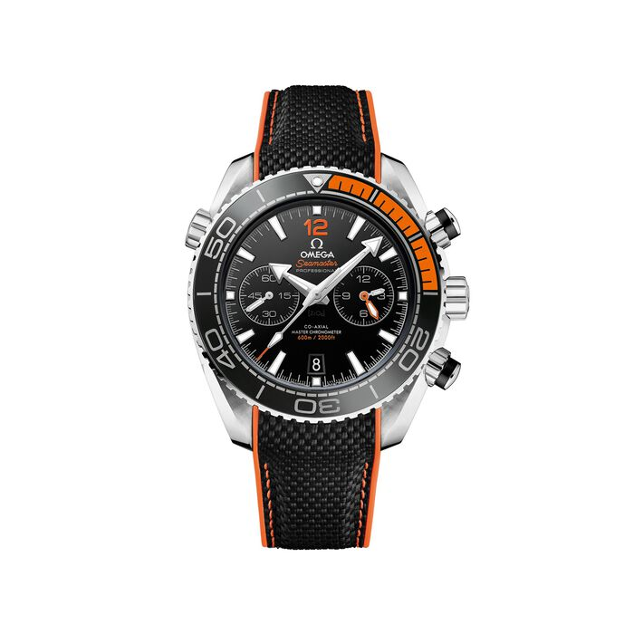 Omega Seamaster Planet Ocean 45.5mm Men's Auto Chronograph Stainless Steel Watch with Black and Orange Rubber Strap, , default