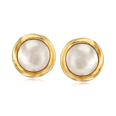 C. 1980 Vintage Tiffany Jewelry 14mm Cultured Mabe Pearl Earrings in 14kt Yellow Gold
