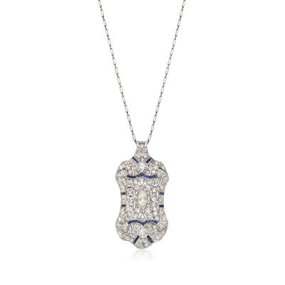 C. 1950 Vintage 3.00 ct. t.w. Diamond and .75 ct. t.w. Synthetic Sapphire Pin Pendant in Platinum, , default