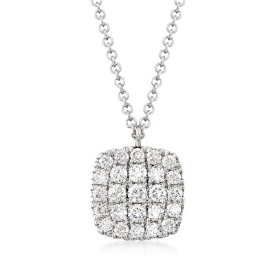 Gabriel Designs .50 ct. t.w. Diamond Square Pendant Necklace in 14kt White Gold, , default