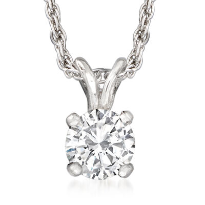 C. 1980 Vintage .30 Carat Diamond Solitaire Necklace in 10kt and 14kt White Gold