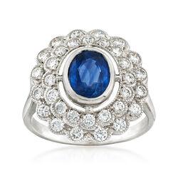 C. 1980 Vintage 1.50 Carat Sapphire and 1.00 ct. t.w. Diamond Ring in 18kt White Gold, , default