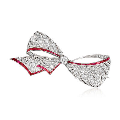 C. 1940 Vintage 1.80 ct. t.w. Diamond and 1.60 ct. t.w. Simulated Ruby Bow Pin in 14kt White Gold, , default