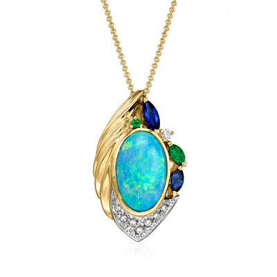 C. 1990 Vintage Opal and .75 ct. t.w. Multi-Gemstone Pendant Necklace with .11 ct. t.w. Diamonds in Platinum and 18kt Yellow Gold