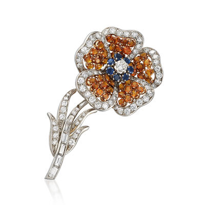C. 1970 Vintage 4.00 ct. t.w. Citrine, 3.35 ct. t.w. Diamond, .70 ct. t.w. Sapphire Flower Pin in Platinum, , default