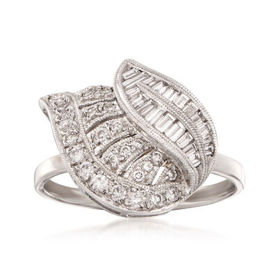 C. 1990 Vintage .75 ct. t.w. Diamond Leaf Ring in 18kt White Gold, , default