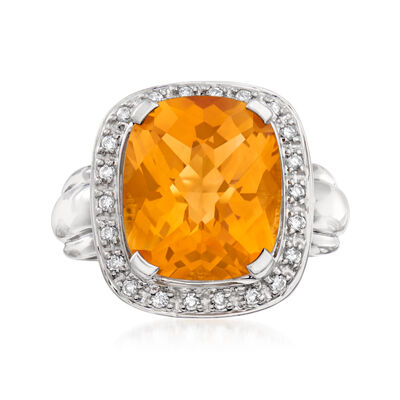 C. 1990 Vintage 9.50 Carat Citrine and .30 ct. t.w. Diamond Cocktail Ring in 14kt White Gold