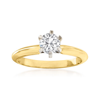 C. 1990 Vintage .60 Carat Diamond Ring in 14kt Yellow Gold
