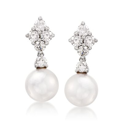 "Mikimoto ""Classic"" 7.5mm Akoya Pearl and .70 ct. t.w. Diamond Drop Earrings in 18kt White Gold, , default"