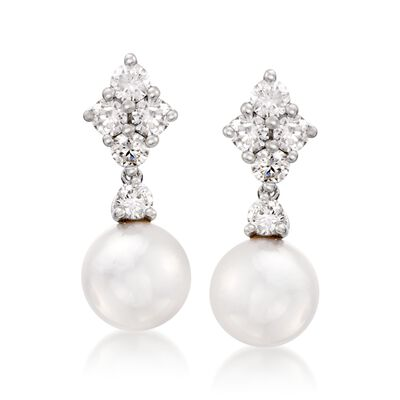 "Mikimoto ""Classic"" 7.5mm Akoya Pearl and .70 ct. t.w. Diamond Drop Earrings in 18kt White Gold"