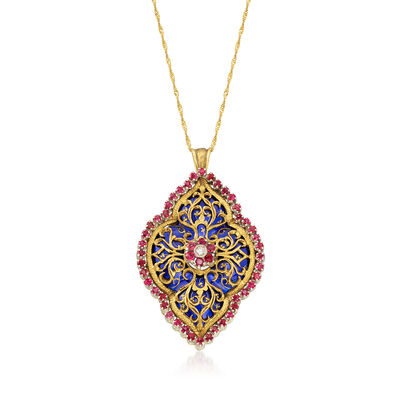 C. 1950 Vintage 1.55 ct. t.w. Ruby and Blue Enamel Pin Pendant Necklace in Yellow Gold, , default