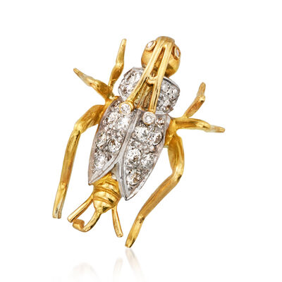 C. 1980 Vintage .65 ct. t.w. Diamond Grasshopper Pin/Pendant in 14kt Yellow Gold