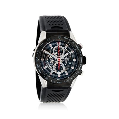 TAG Heuer Carrera Men's 45mm Chronograph Stainless Steel Watch with Black Rubber Strap