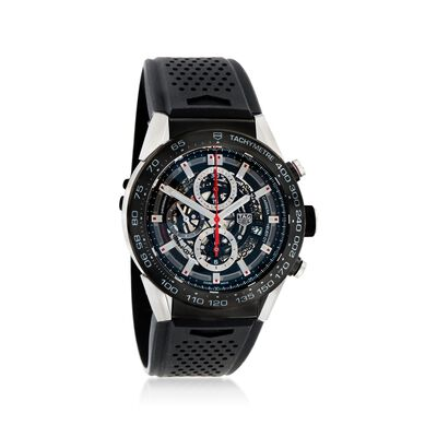 TAG Heuer Carrera Men's 45mm Chronograph Stainless Steel Watch with Black Rubber Strap, , default