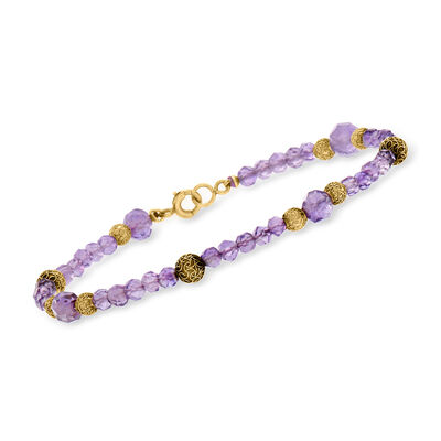 C. 1990 Vintage 3.5x6.4mm Amethyst Bead Bracelet with 14kt Yellow Gold