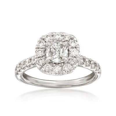 Henri Daussi 1.33 ct. t.w. Diamond Halo Engagement Ring in 18kt White Gold  , , default