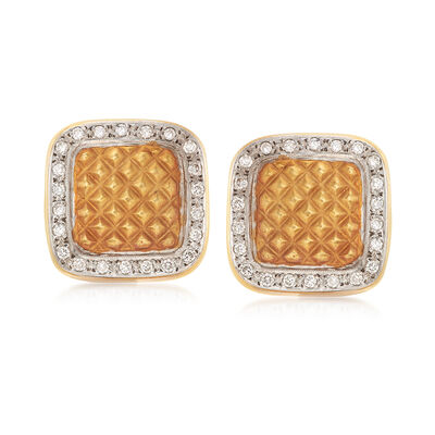 C. 1990 Vintage .60 ct. t.w. Diamond Square Earrings in 18kt Two-Tone Gold, , default