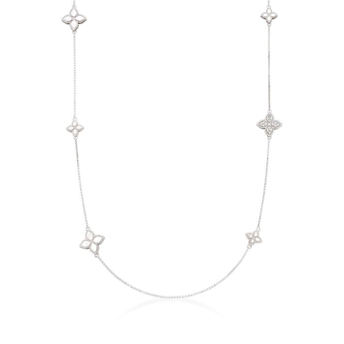 "Roberto Coin Princess Flower .17 Carat Total Weight Diamond Station Necklace in 18-Karat White Gold. 34"", , default"
