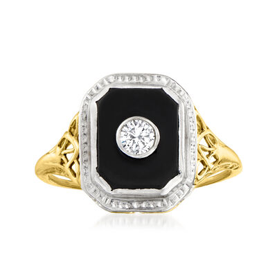 C. 1950 Vintage Black Onyx Ring with Diamond Accent in 14kt Two-Tone Gold